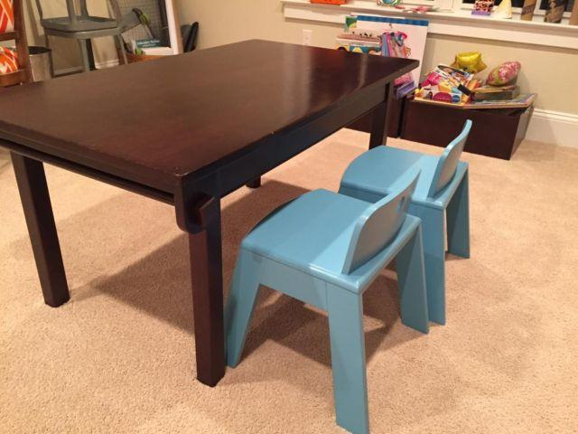 Land Of Nod Play Table Storage Bins Chairs