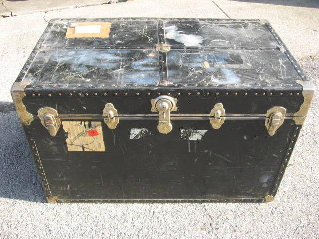 Large Antique Black Travel Steamer Trunk / Coffee Table