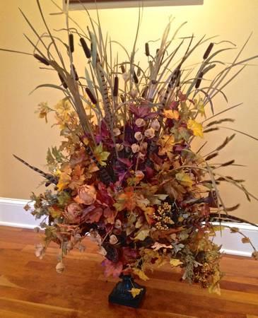 Large Artificial Fall Flower Arrangement And Vase For Sale In