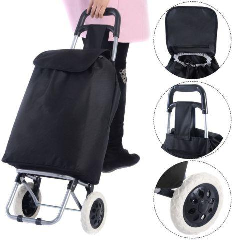 Large Capacity Wheeled Shopping Trolley Push Cart Bag