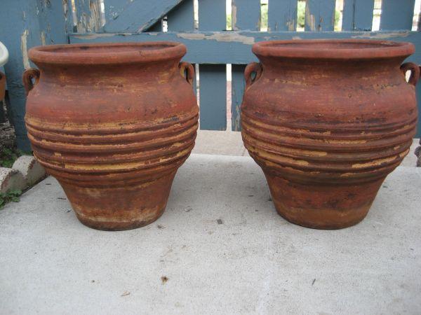 pair large clay garden flower pots rustic western