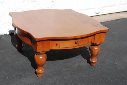 Large Clunky Coffee Or End Table With Drawer Solid Wood