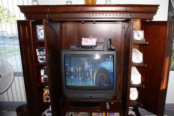 Large Dark Cherry Wood Entertainment Center W Media Storage Stockton Ca For Sale In