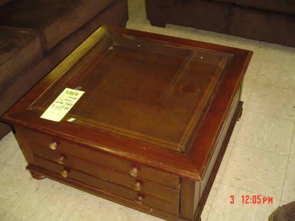 LARGE DISPLAY GLASS TOP COFFEE TABLE W DRAWERS TULSA For Sale - Display coffee table for sale