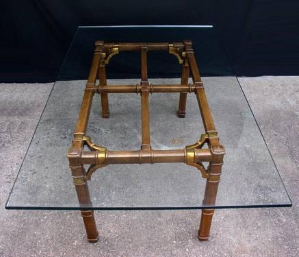 large drexel glass top dining table wood metal base for sale in amherst junction wisconsin. Black Bedroom Furniture Sets. Home Design Ideas
