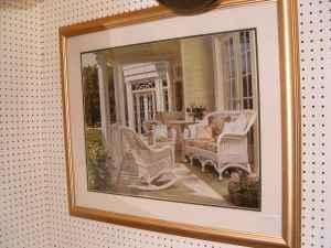 Large Framed & Matted Porch Scene Picture Measures 35
