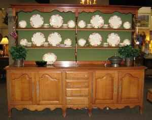 Large French Country Sideboard W/Plate Rack Hutch