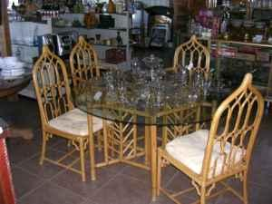 large Glass Table with 4-bamboo chairs Crystal Springs, MS