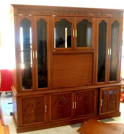 LARGE Mahogany Entertainment Center Wall Unit For Sale