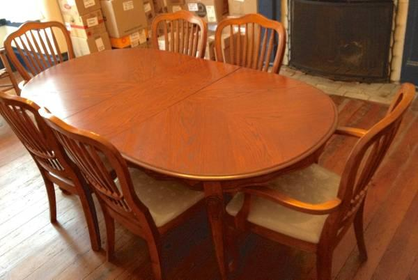 Large oval maple dining room table w 6 chairs leaf firm for Maple dining room table