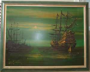 Large Painting by Famous LEE BURR, Ships at Sea