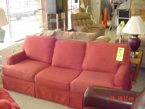 LARGE RED FABRIC SOFA - $100 (TULSA)