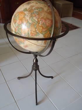 Large Replogle World Classic Floor Globe On Wrought Iron