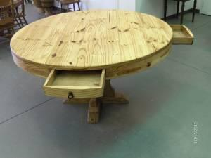 large round rustic dining table with 4 drawers cody can