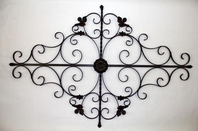 LARGE TUSCAN SCROLL WROUGHT IRON METAL WALL GRILLE MODEL