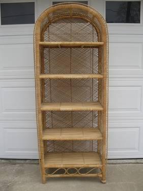 Large Wonderful Vintage Wicker Shelf Unit For Sale In