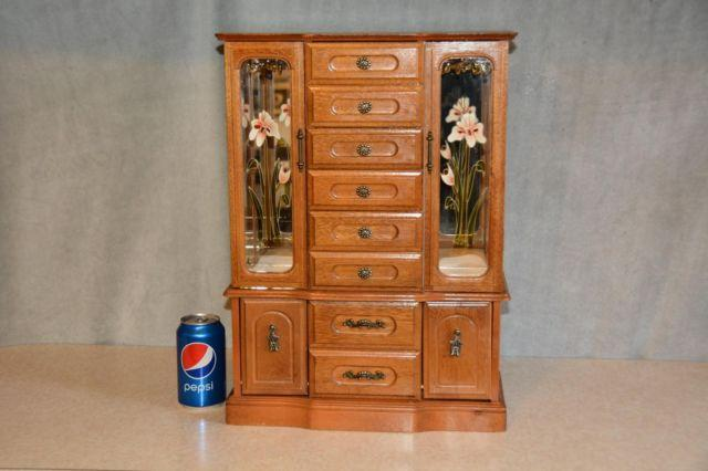 Large wood dresser top jewelry chest armoire storage for