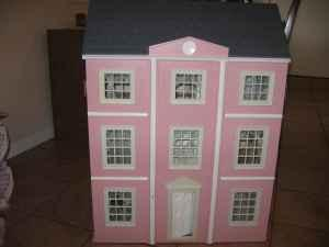 Large Wooden Pink Doll House, Furniture   $70