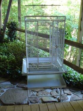 Large Wrought Iron Powder Coated Bird Cage on Wheels