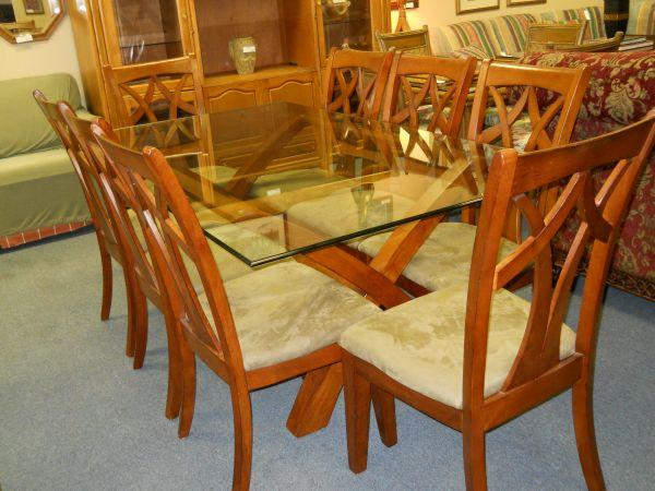 Large Glass Top Dining Table W Solid Wood Base And 8