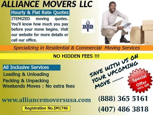 LAST MINUTE MOVES - 10% OFF - BBB ACCREDITED -