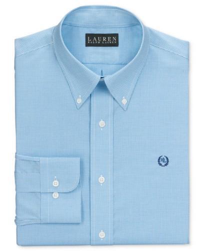 Lauren Ralph Lauren Dress Shirt, Slim-Fit Aqua and White Box Check Long Sleeve Shirt with Exclusive Crest