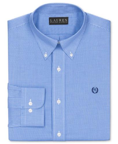 Lauren Ralph Lauren Dress Shirt, Slim-Fit Blue and White Box Check Long-Sleeved Shirt with Exclusive Crest