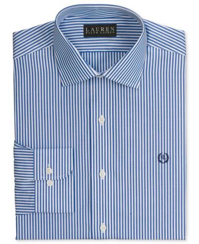 Lauren Ralph Lauren Dress Shirt, Slim-Fit Blue and White Stripe Long Sleeve Shirt with Exclusive Crest