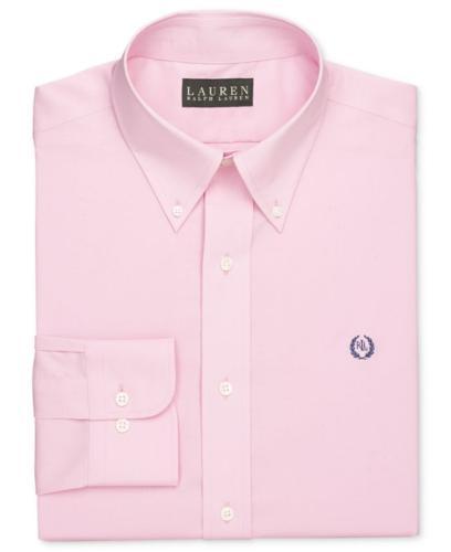 Lauren Ralph Lauren Dress Shirt, Slim-Fit Pink Solid Long Sleeve Shirt with Exclusive Crest