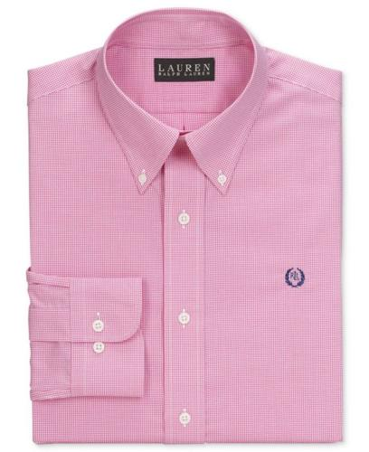 Lauren Ralph Lauren Dress Shirt, Slim-Fit Red and White Box Check Long Sleeve Shirt with Exclusive Crest