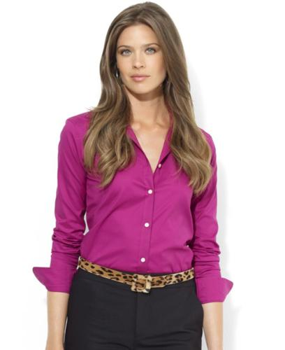 Lauren Ralph Lauren Top, Long-Sleeve Stretch Cotton