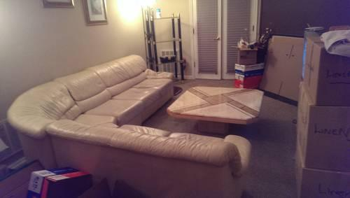 Leather Beige Sectional Couch Good Condition****REDUCED