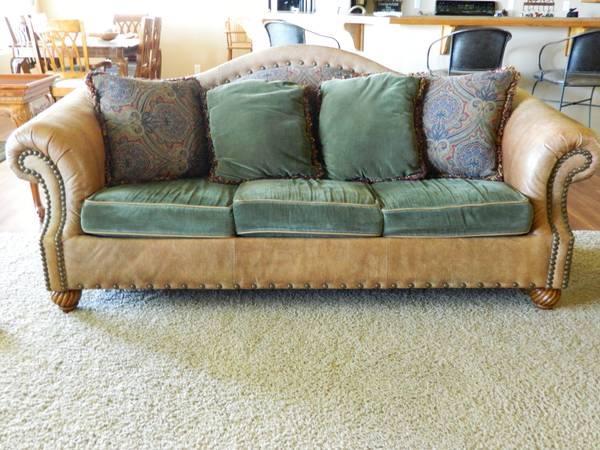 Leather Camel Back Sofa Bassett Brand For Sale For Sale