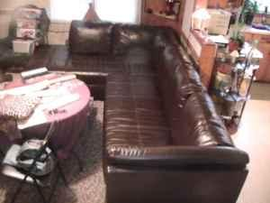 LEATHER LIVING ROOM SET - $550 (VA/NC BORDER)