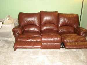 Leather Reclining Couch Rocker Cranberry For Sale In