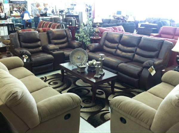 Leather Reclining Sofa/Love Set ALL THE TOP NAME