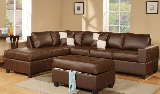 LEATHER SECTIONAL SOFA WITH FREE STORAGE OTTOMAN ON