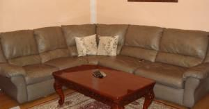 leather sectional sofa with full size bed - $690