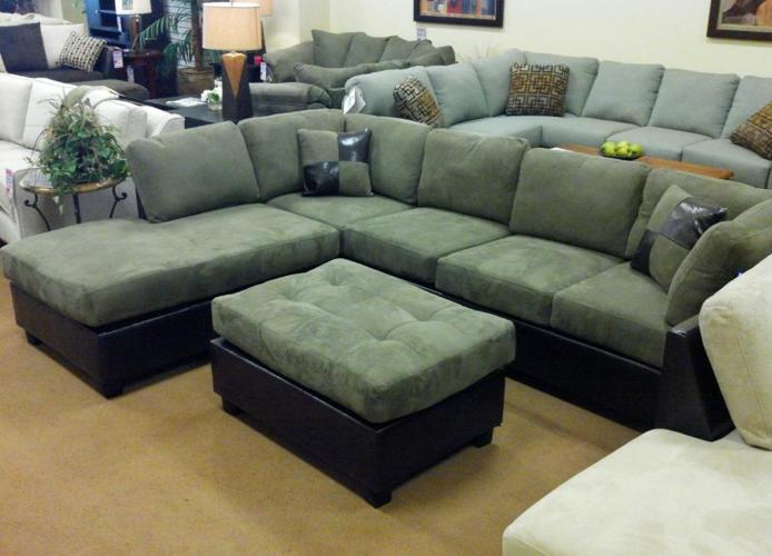 Leather Trim Emerald Sectional Over Stock Bonus