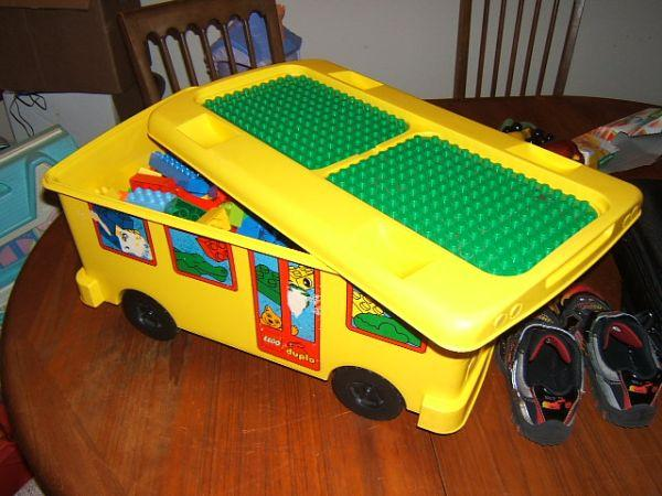 Lego Duplo School Bus Ride On Storage With Legos   $35