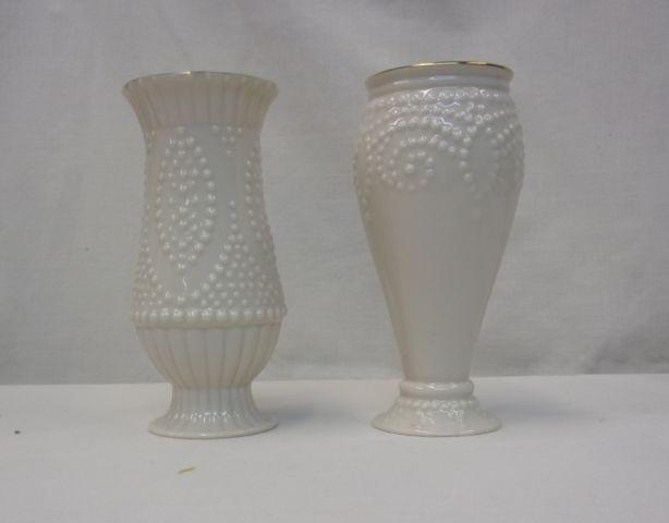 Lenox Cream Beaded Collectible Bud Vase 2-pieces 6