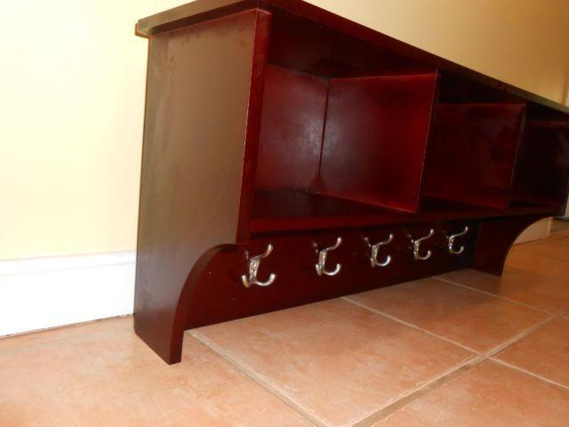 LG CHERRY WOOD WALL SHELF WITH HOOKS CUBBIES for Sale in Wareham