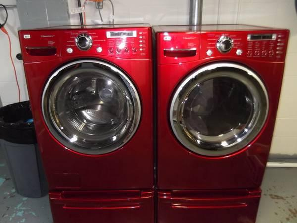 Lg Steam Front Load Washer Gas Dryer Wild Cherry Red Set