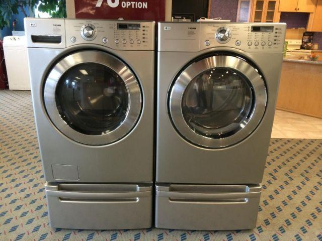Lg Tromm Slate Front Load Washer Amp Dryer Set On Pedestals