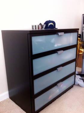 Like New Black Brown Ikea Hopen 4 Drawer Dresser For Sale