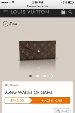 Like New Louis Vuitton Origami Wallet For Low For Sale In