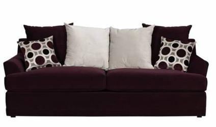 Like New Plum Purple Sofa Couch With 2 Ottomans
