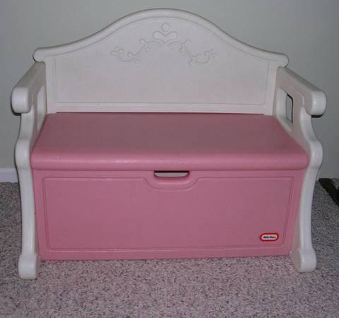 Little Tikes Girls Pink  White Toy Box  Victorian Bench - $35