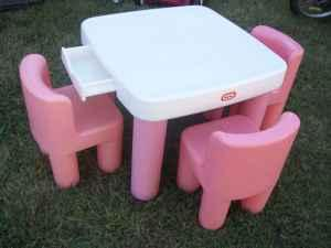 little tikes pink and white table and chairs w drawers extra chair bartlett for sale in. Black Bedroom Furniture Sets. Home Design Ideas