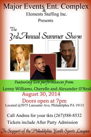 Live performances:LENNY WILLIAMS, CHERELLE, ALEXANDER